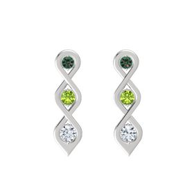 Round Peridot Sterling Silver Earring with Alexandrite and Diamond