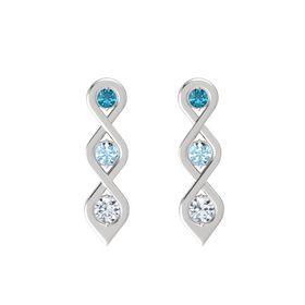 Round Aquamarine Sterling Silver Earrings with London Blue Topaz & Diamond