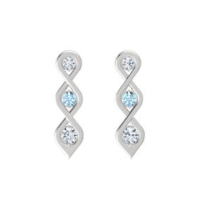 Round Aquamarine Sterling Silver Earrings with Diamond