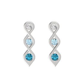 Round Aquamarine Sterling Silver Earrings with White Sapphire & London Blue Topaz