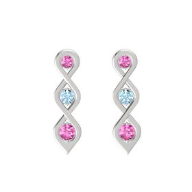 Round Aquamarine Sterling Silver Earrings with Pink Sapphire
