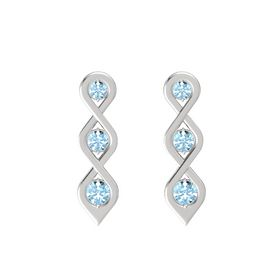 Round Aquamarine Sterling Silver Earrings with Aquamarine
