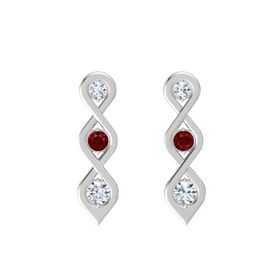 Round Ruby Sterling Silver Earrings with Diamond