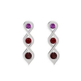 Round Ruby Sterling Silver Earrings with Rhodolite Garnet & Red Garnet