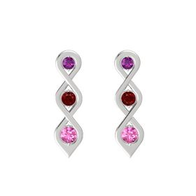 Round Ruby Sterling Silver Earrings with Rhodolite Garnet & Pink Sapphire
