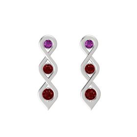 Round Ruby Sterling Silver Earring with Rhodolite Garnet and Ruby