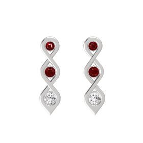 Round Ruby Sterling Silver Earrings with Ruby & White Sapphire