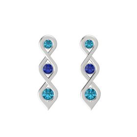 Round Sapphire Sterling Silver Earrings with London Blue Topaz