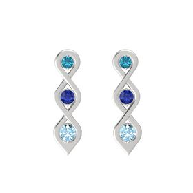 Round Sapphire Sterling Silver Earrings with London Blue Topaz & Aquamarine