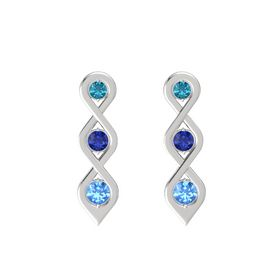 Round Blue Sapphire Sterling Silver Earring with London Blue Topaz and Blue Topaz