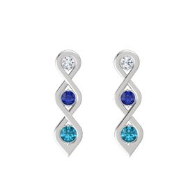 Round Blue Sapphire Sterling Silver Earring with Diamond and London Blue Topaz