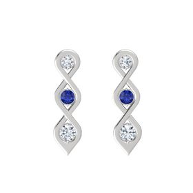 Round Blue Sapphire Sterling Silver Earring with Diamond
