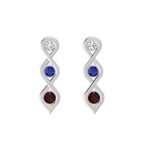 Round Blue Sapphire Sterling Silver Earring with Diamond and Red Garnet