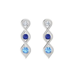 Round Sapphire Sterling Silver Earrings with Diamond & Blue Topaz