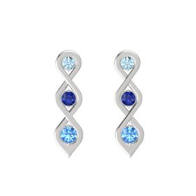 Round Blue Sapphire Sterling Silver Earring with Aquamarine and Blue Topaz