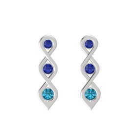 Round Sapphire Sterling Silver Earrings with Sapphire & London Blue Topaz
