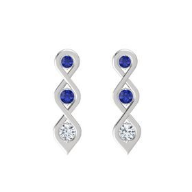 Round Blue Sapphire Sterling Silver Earring with Blue Sapphire and Diamond