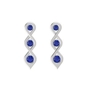 Round Blue Sapphire Sterling Silver Earring with Blue Sapphire