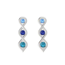 Round Blue Sapphire Sterling Silver Earring with Blue Topaz and London Blue Topaz