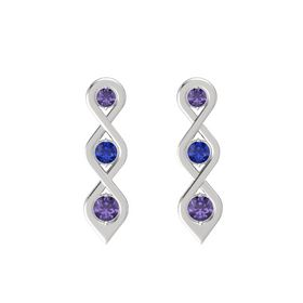 Round Sapphire Sterling Silver Earrings with Iolite