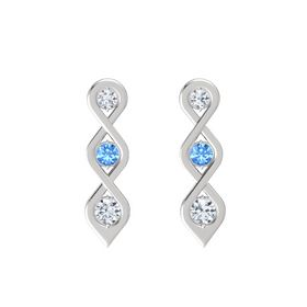 Round Blue Topaz Sterling Silver Earring with Diamond