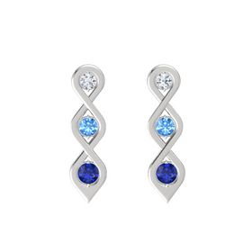 Round Blue Topaz Sterling Silver Earrings with Diamond & Sapphire