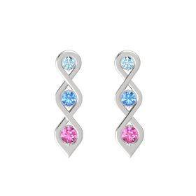 Round Blue Topaz Sterling Silver Earring with Aquamarine and Pink Sapphire