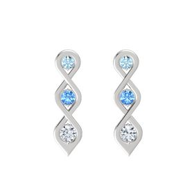 Round Blue Topaz Sterling Silver Earring with Aquamarine and Moissanite