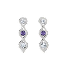 Round Iolite Sterling Silver Earring with Diamond