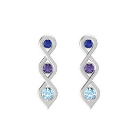 Round Iolite Sterling Silver Earring with Blue Sapphire and Aquamarine