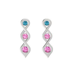 Round Pink Tourmaline Sterling Silver Earrings with London Blue Topaz & Pink Sapphire