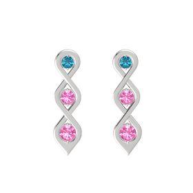Round Pink Tourmaline Sterling Silver Earring with London Blue Topaz and Pink Tourmaline