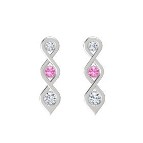 Round Pink Tourmaline Sterling Silver Earrings with Diamond