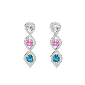 Round Pink Tourmaline Sterling Silver Earring with White Sapphire and London Blue Topaz