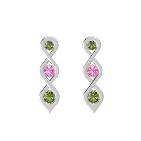 Round Pink Tourmaline Sterling Silver Earring with Green Tourmaline