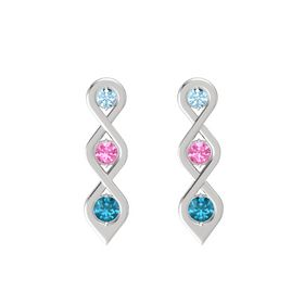 Round Pink Tourmaline Sterling Silver Earrings with Aquamarine & London Blue Topaz