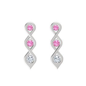 Round Pink Tourmaline Sterling Silver Earring with Pink Tourmaline and Diamond