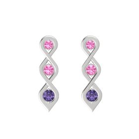 Round Pink Tourmaline Sterling Silver Earring with Pink Tourmaline and Iolite
