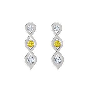 Round Yellow Sapphire Sterling Silver Earring with Diamond