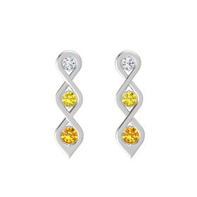 Round Yellow Sapphire Sterling Silver Earring with Diamond and Citrine