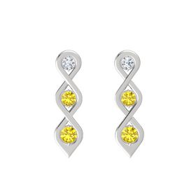 Round Yellow Sapphire Sterling Silver Earring with Diamond and Yellow Sapphire