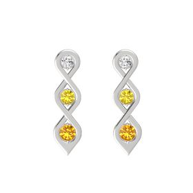 Round Yellow Sapphire Sterling Silver Earring with White Sapphire and Citrine