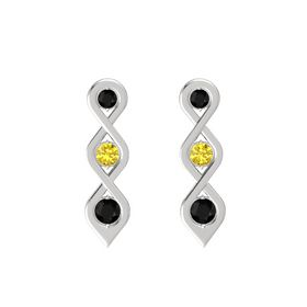Round Yellow Sapphire Sterling Silver Earring with Black Onyx