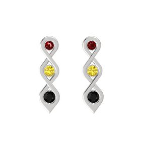 Round Yellow Sapphire Sterling Silver Earring with Ruby and Black Onyx