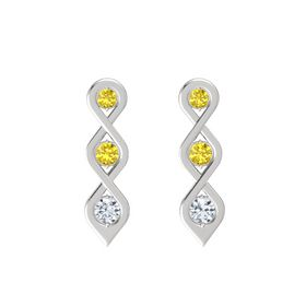 Round Yellow Sapphire Sterling Silver Earring with Yellow Sapphire and Diamond