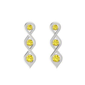 Round Yellow Sapphire Sterling Silver Earrings with Yellow Sapphire