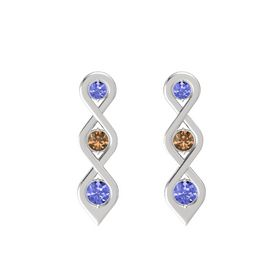Round Smoky Quartz Sterling Silver Earrings with Tanzanite