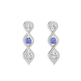 Round Tanzanite Sterling Silver Earring with Diamond