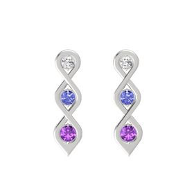 Round Tanzanite Sterling Silver Earrings with White Sapphire & Amethyst