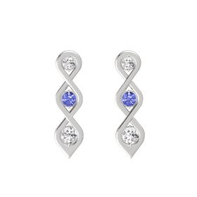Round Tanzanite Sterling Silver Earrings with White Sapphire